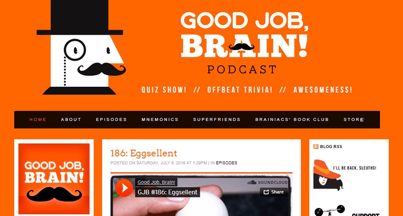 Screenshot of the Good Job Brain podcast website.