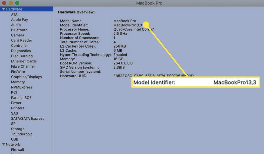 Model Identifier of a MacBook