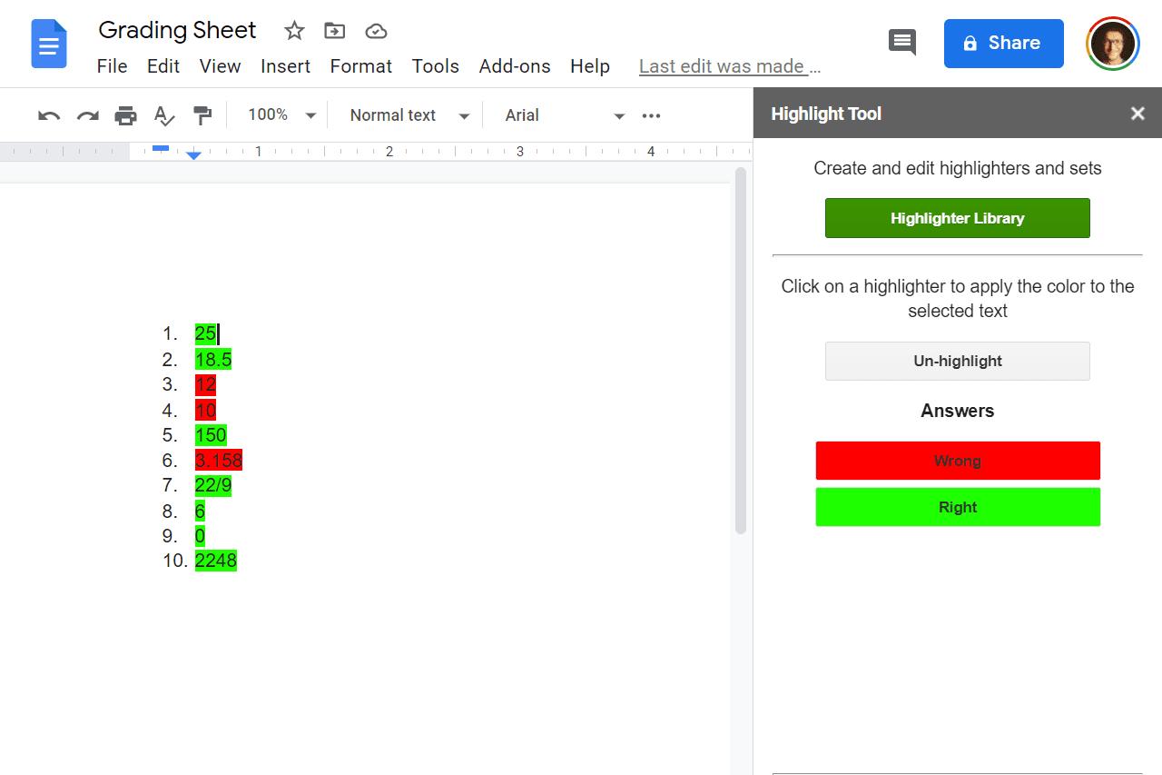 Screenshot of the Google Docs Highlight Tool add-on sidebar