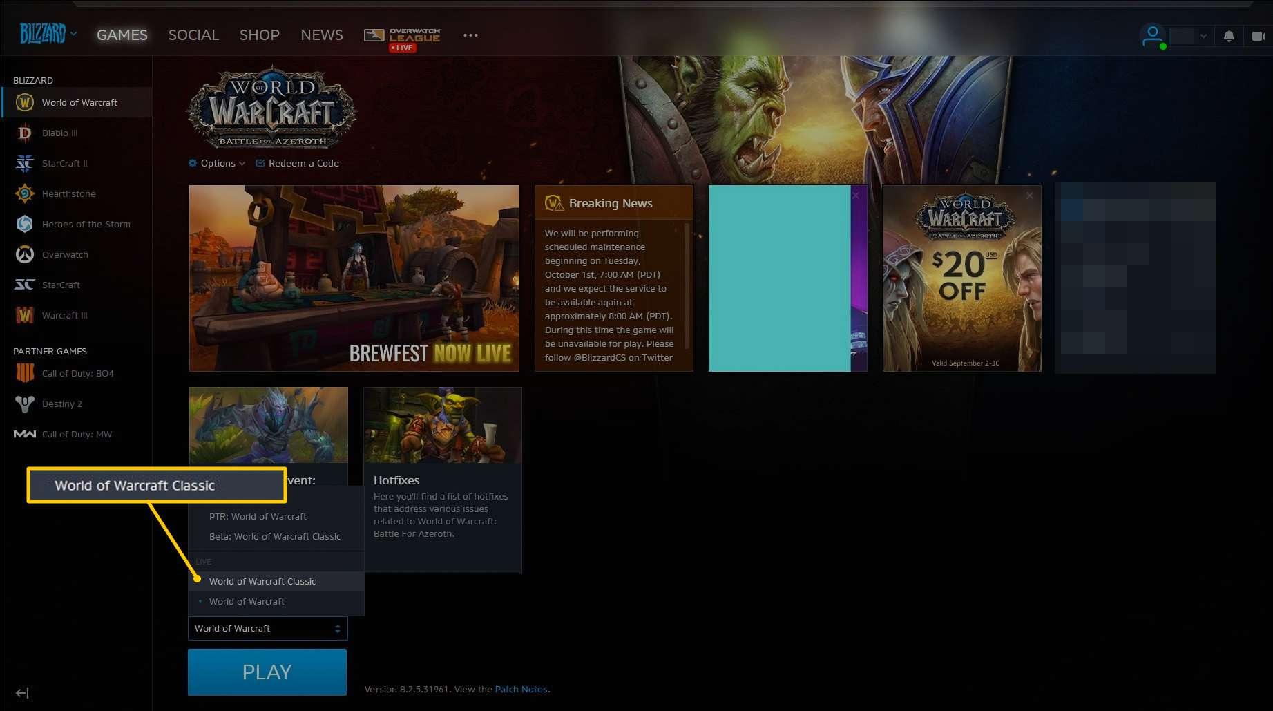 World of Warcraft Classic menu option