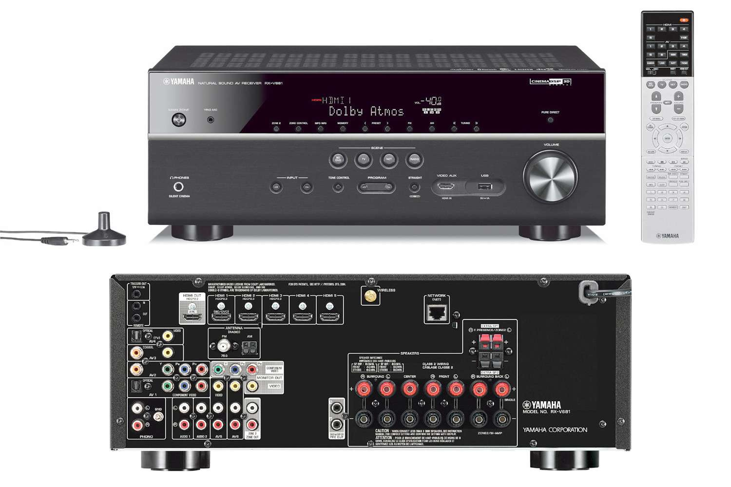 Yamaha RX-V681 Home Theater Receiver with Remote and Speaker Setup Mic