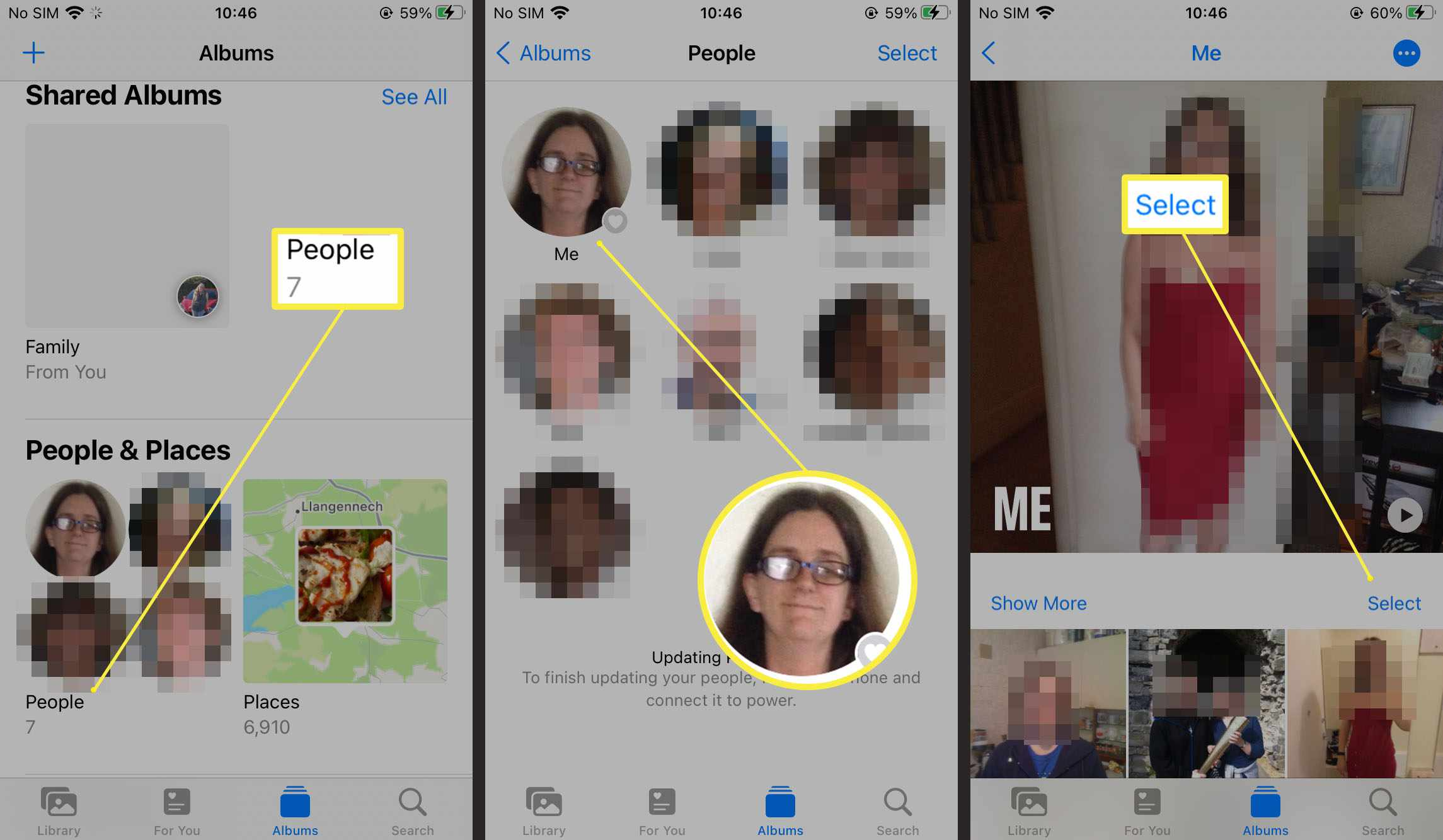 Steps required to select a person in Photos on iOS 15