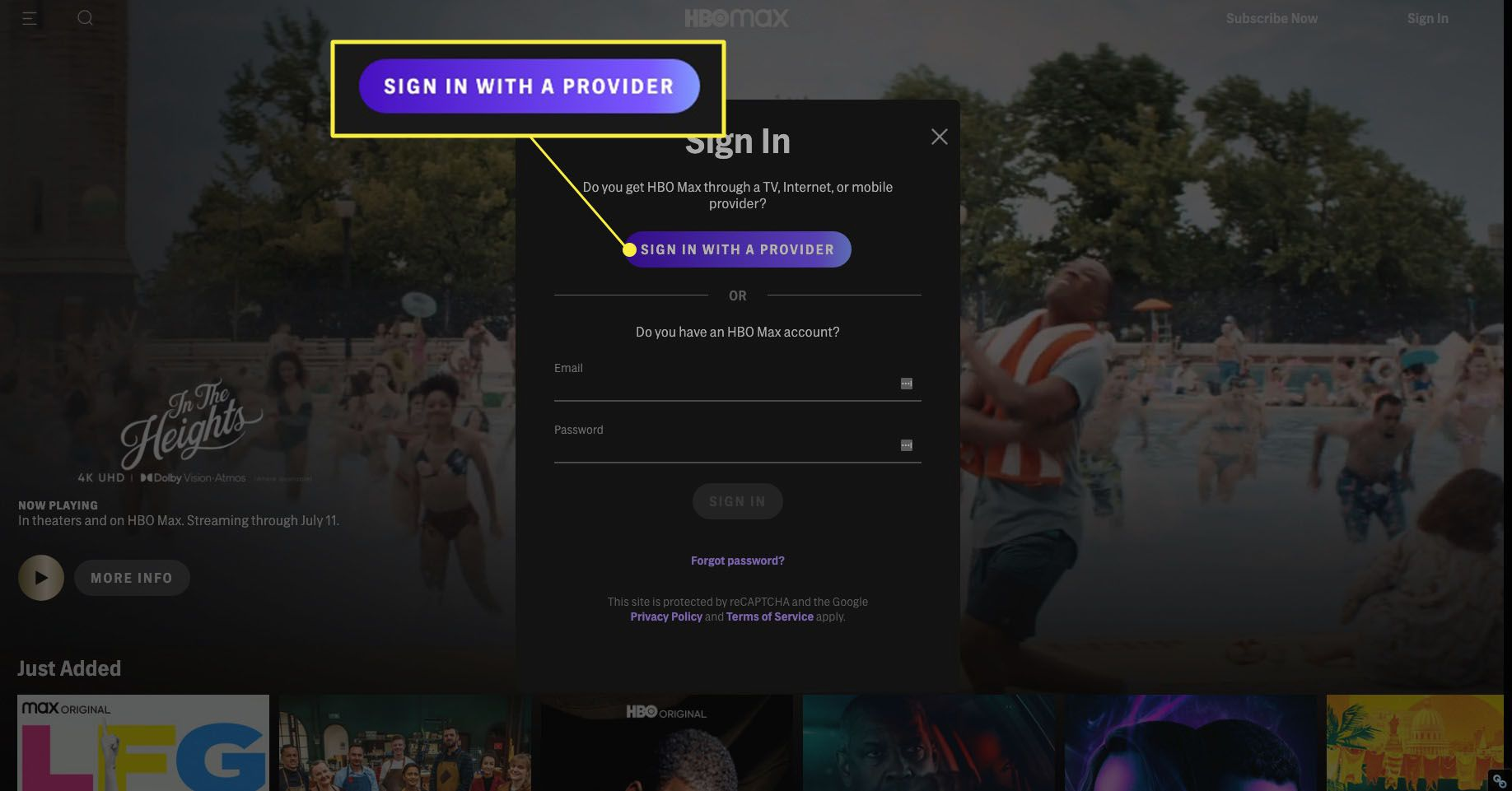 Signing into HBO Max via cable subscription with Sign In With Provider highlighted