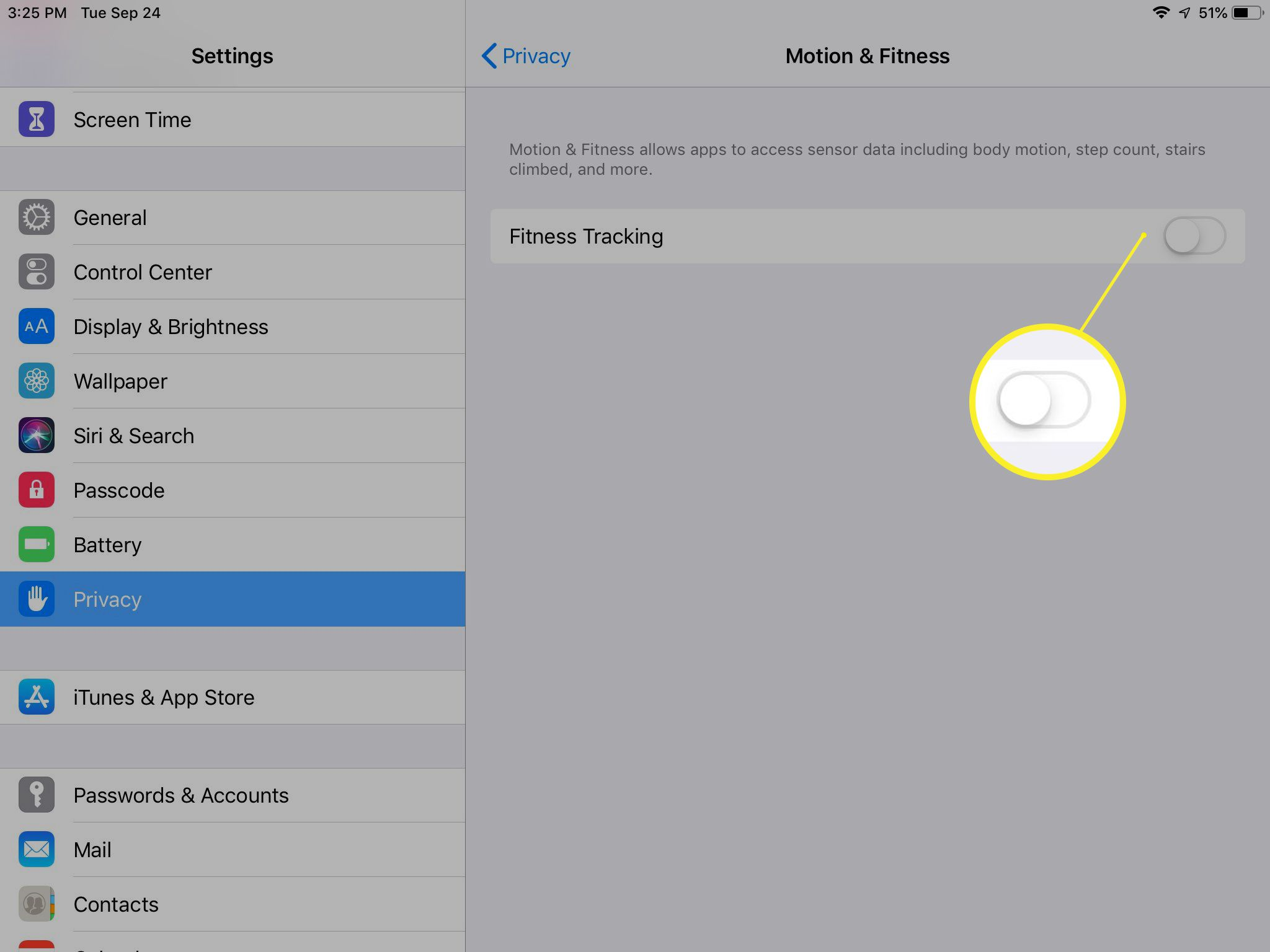 Fitness Tracking toggle