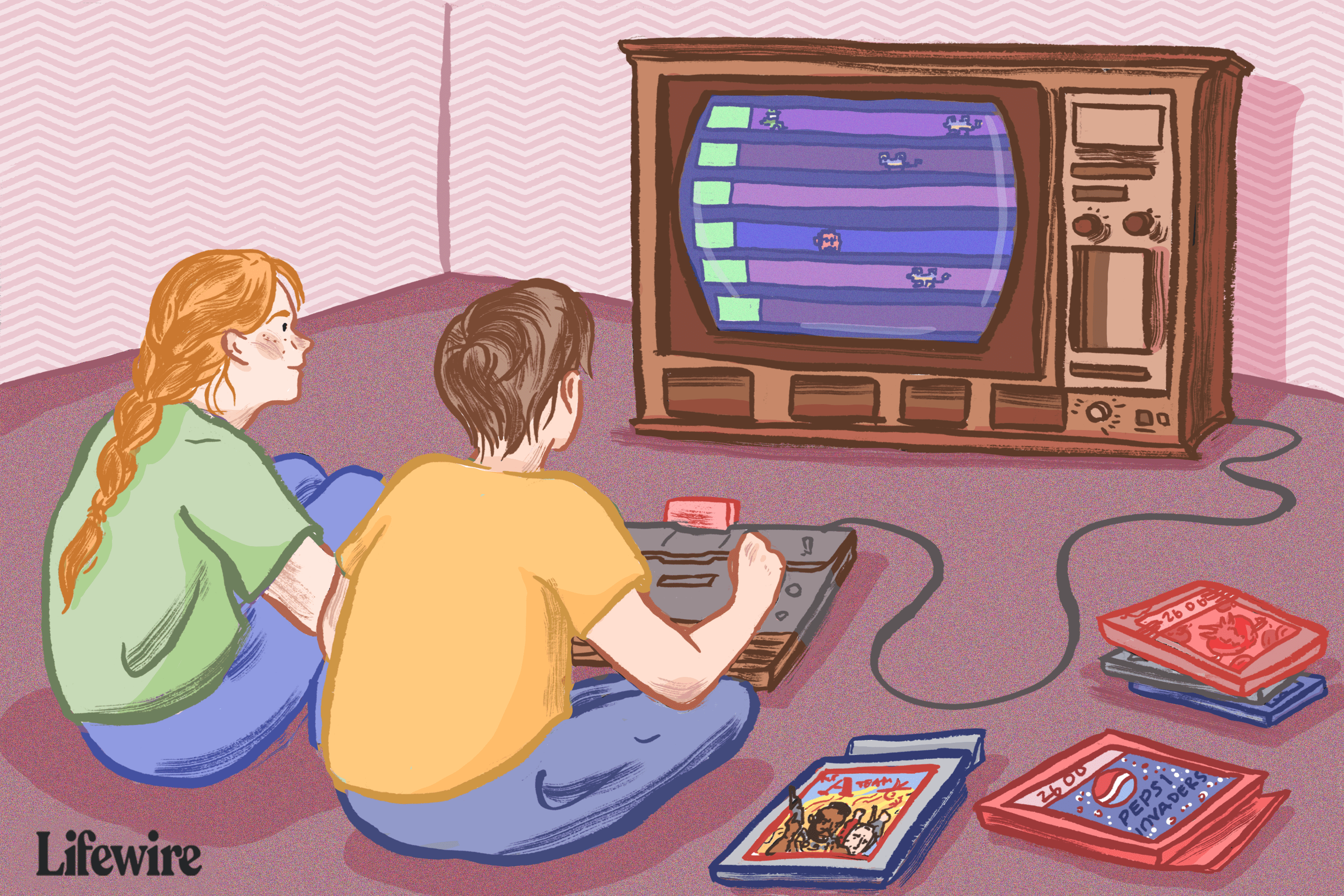Two kids playing Atari games on a console TV