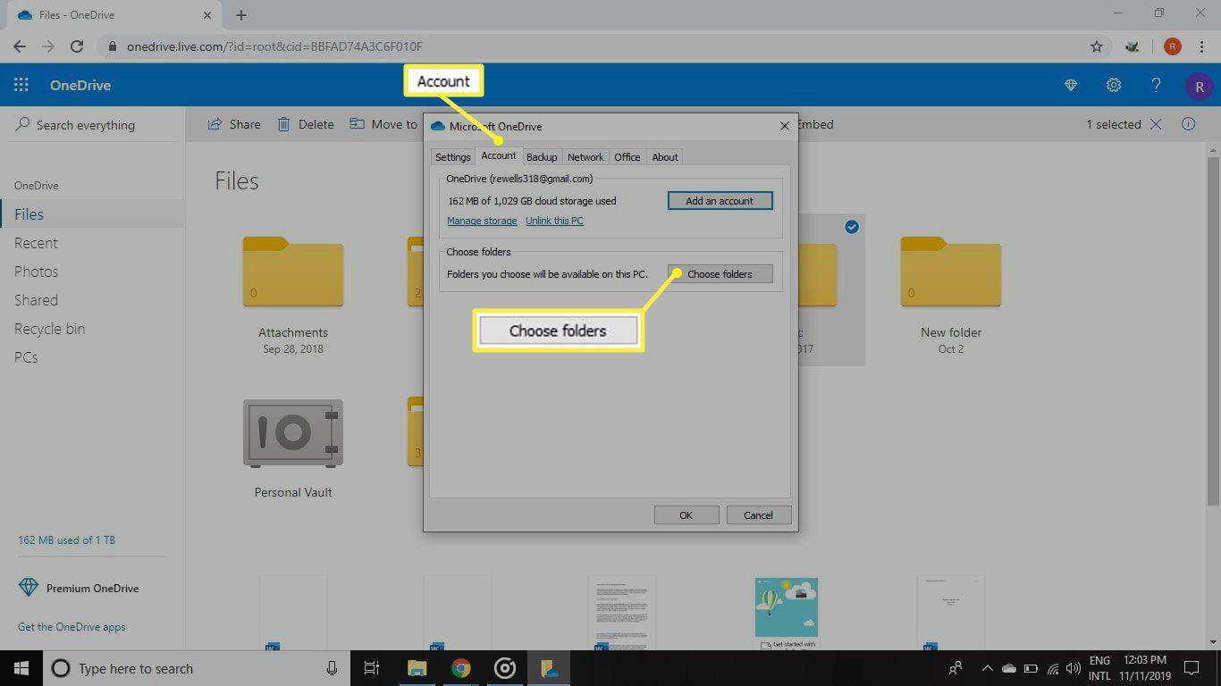 Account > Choose folders