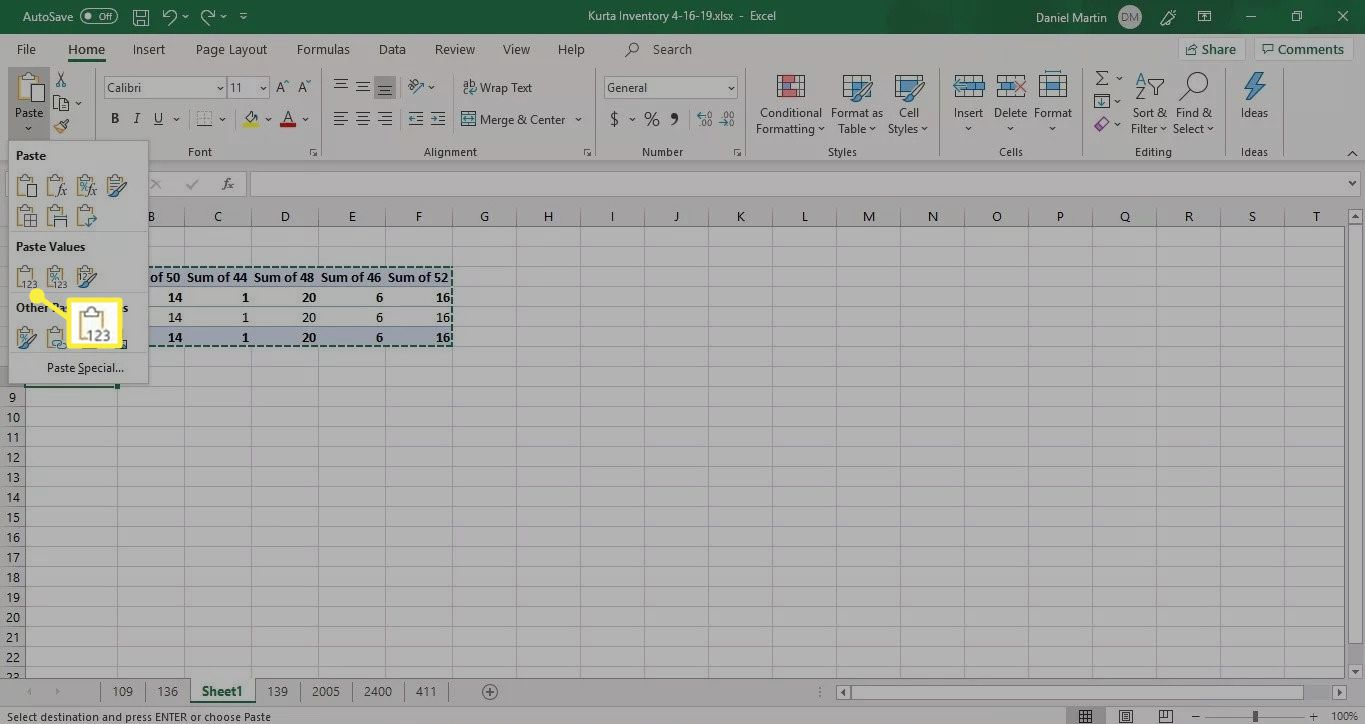 Paste Values in Excel 2019