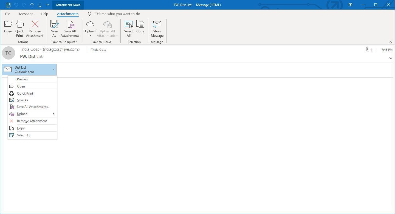 Screenshot of Attachment drop-down list