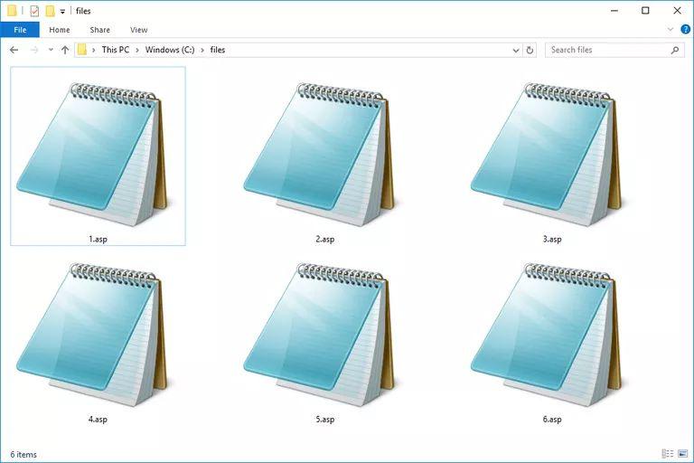 Screenshot of several .asp files in Windows 10