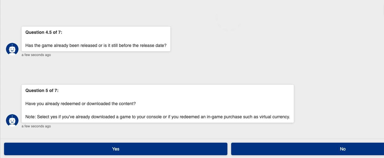 Responding to question about downloading game content from PlayStation support bot.