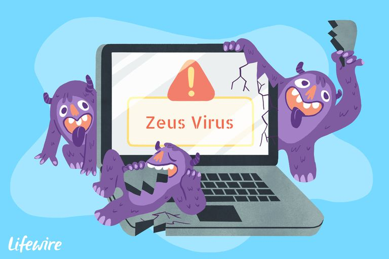A conceptual illustration of the Zeus virus destroying a laptop computer.
