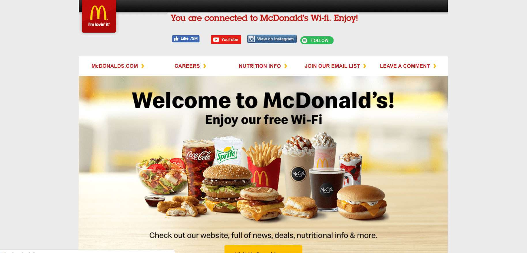 The McDonald's Wi-Fi welcome page