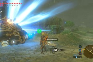 Screenshot of beating a Guardian in Breath of the Wild
