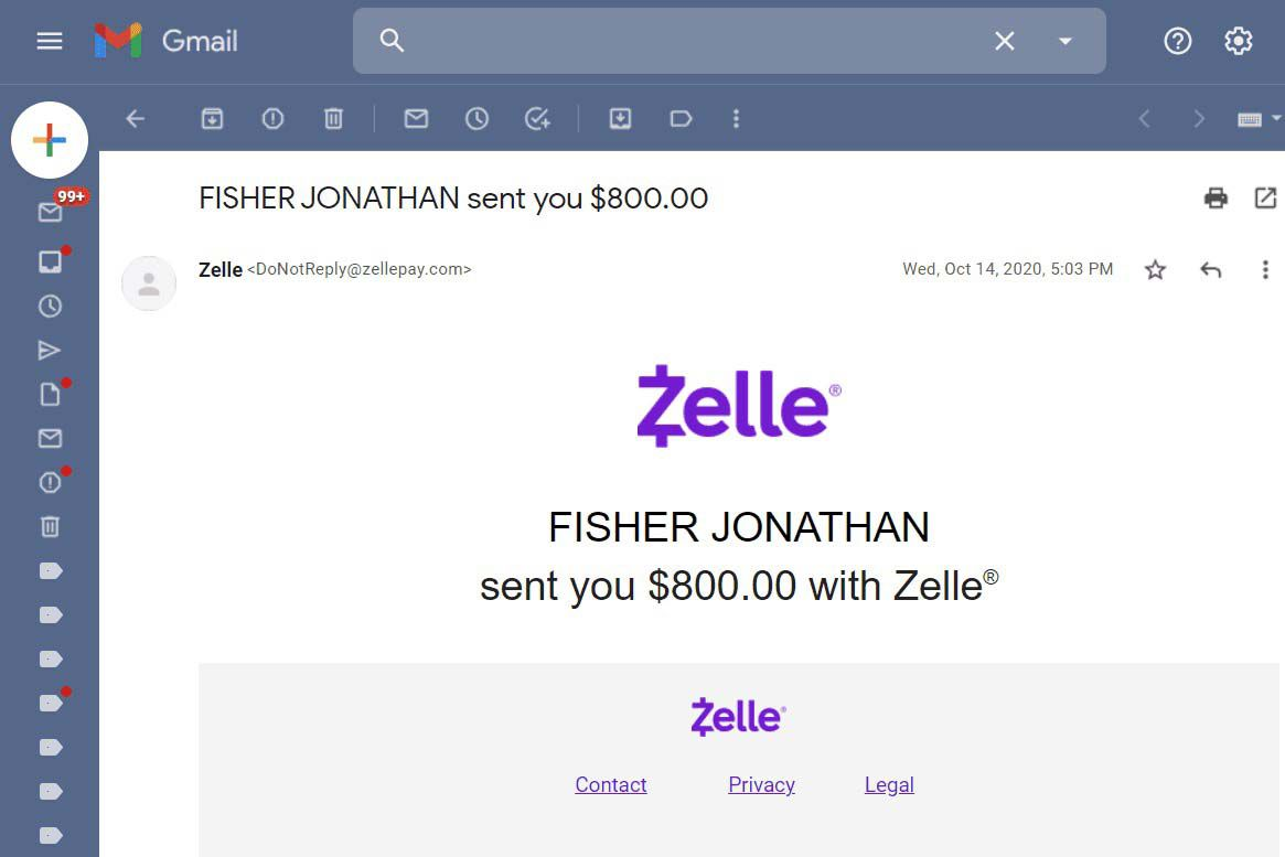 Zelle money received confirmation email.