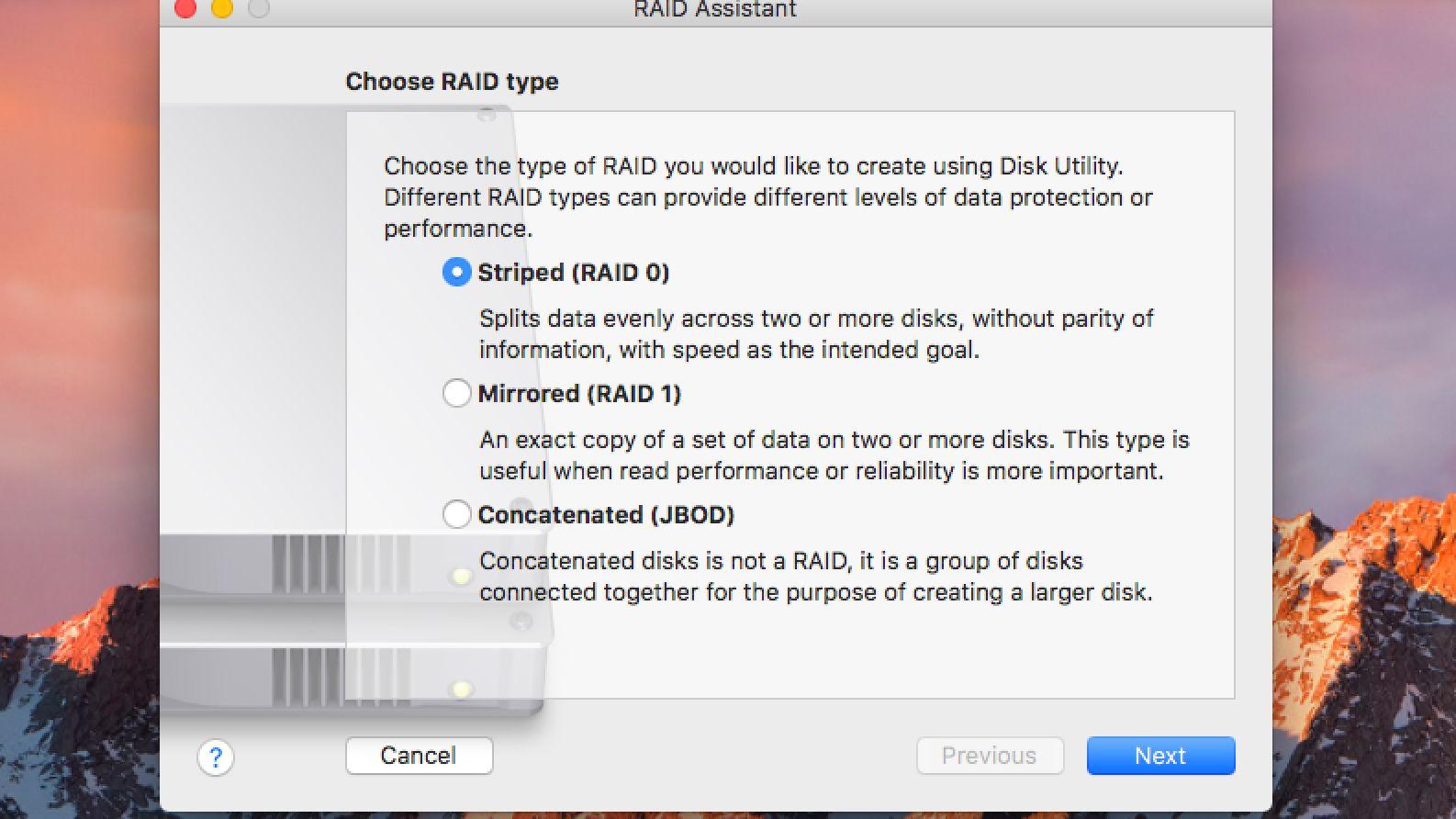 macOS Disk Utility Can Create Four Popular RAID Arrays