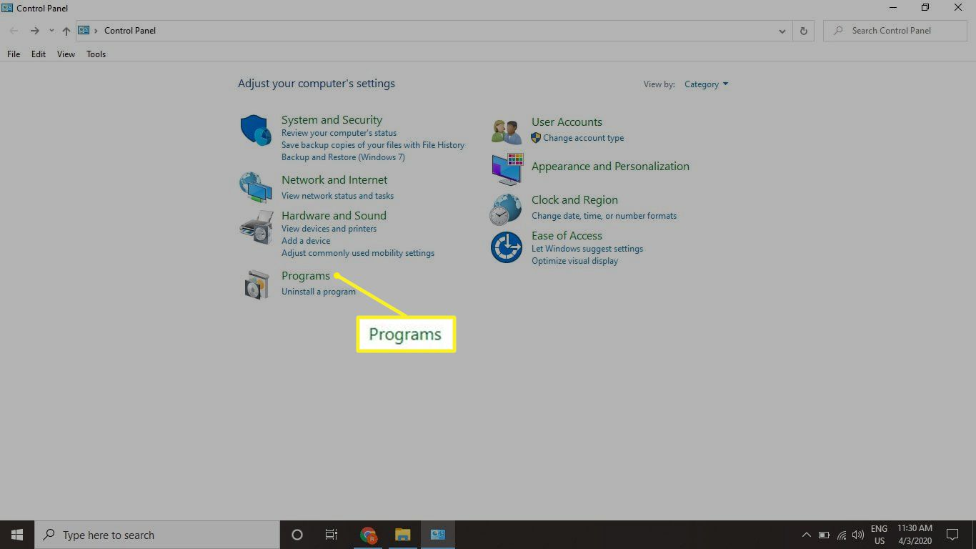 Windows Control Panel with Programs highlighted