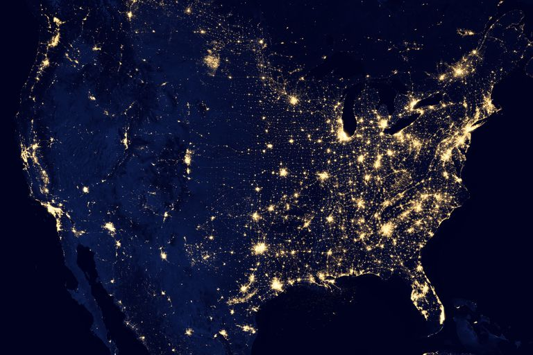 Picture of the United States at night