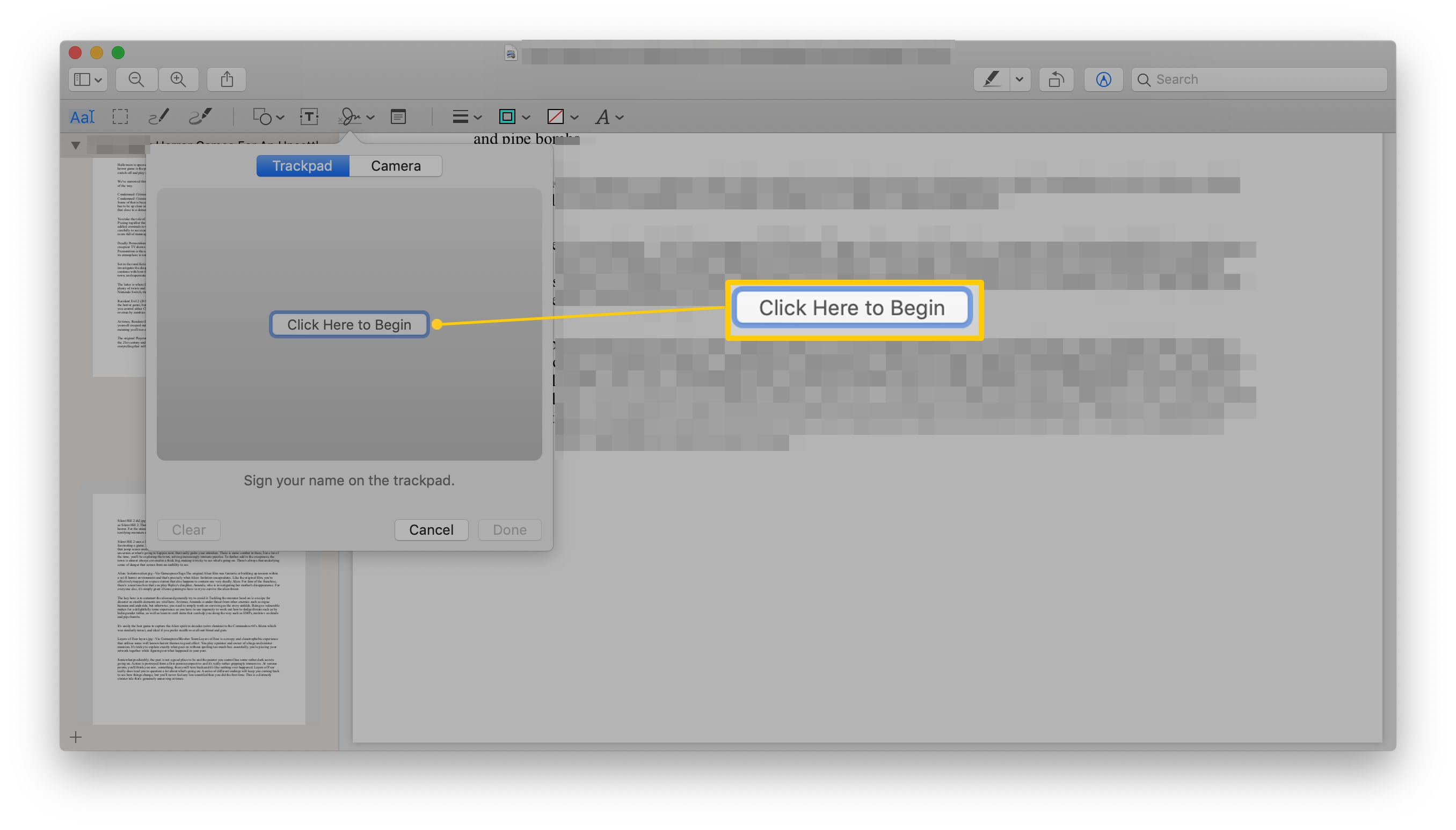 Preview app with Signature dialog showing