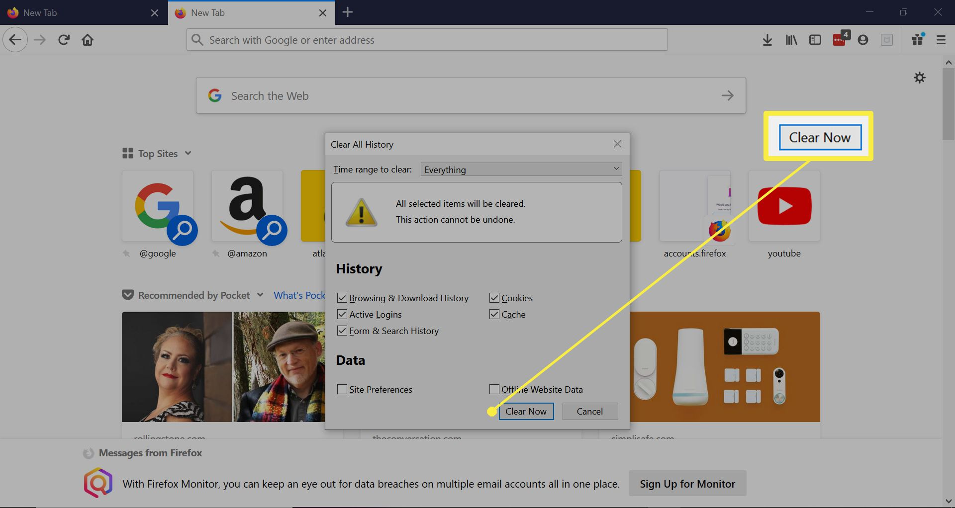 Clearing form and search history in Firefox.