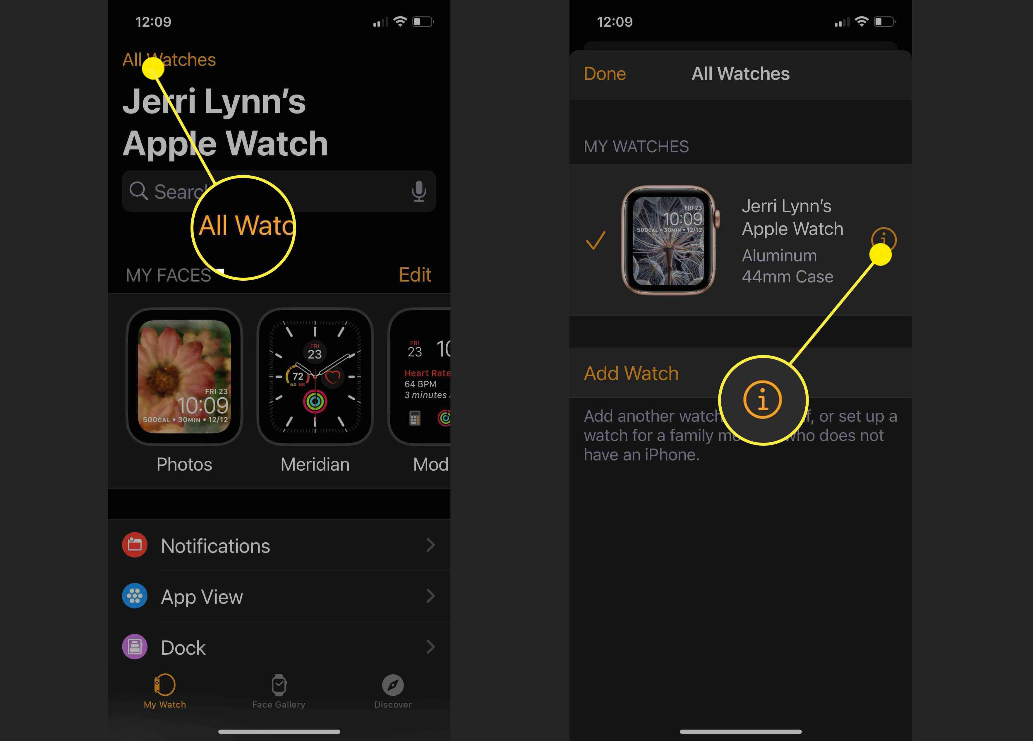 Screenshots showing how to get to the information screen for an Apple Watch.