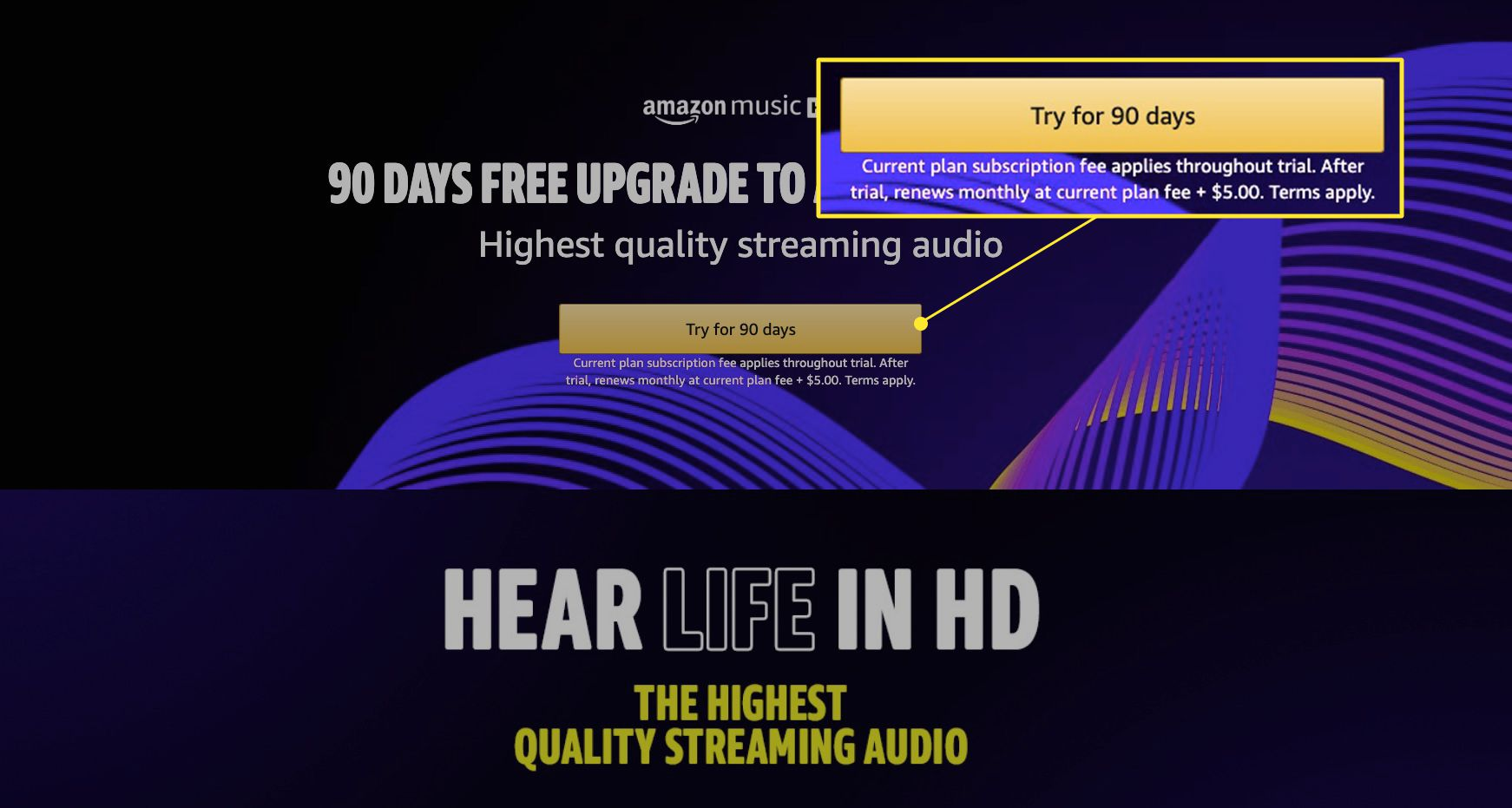 Amazon Music HD page with
