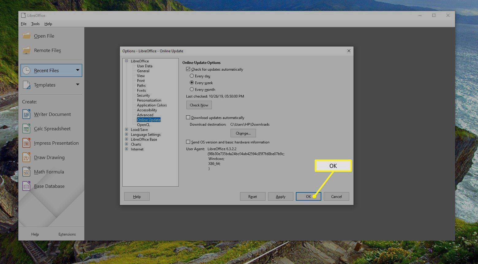 LibreOffice update settings screen with OK highlighted