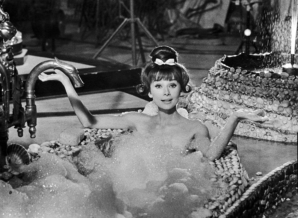 Audrey Hepburn in a bathub scene from the film