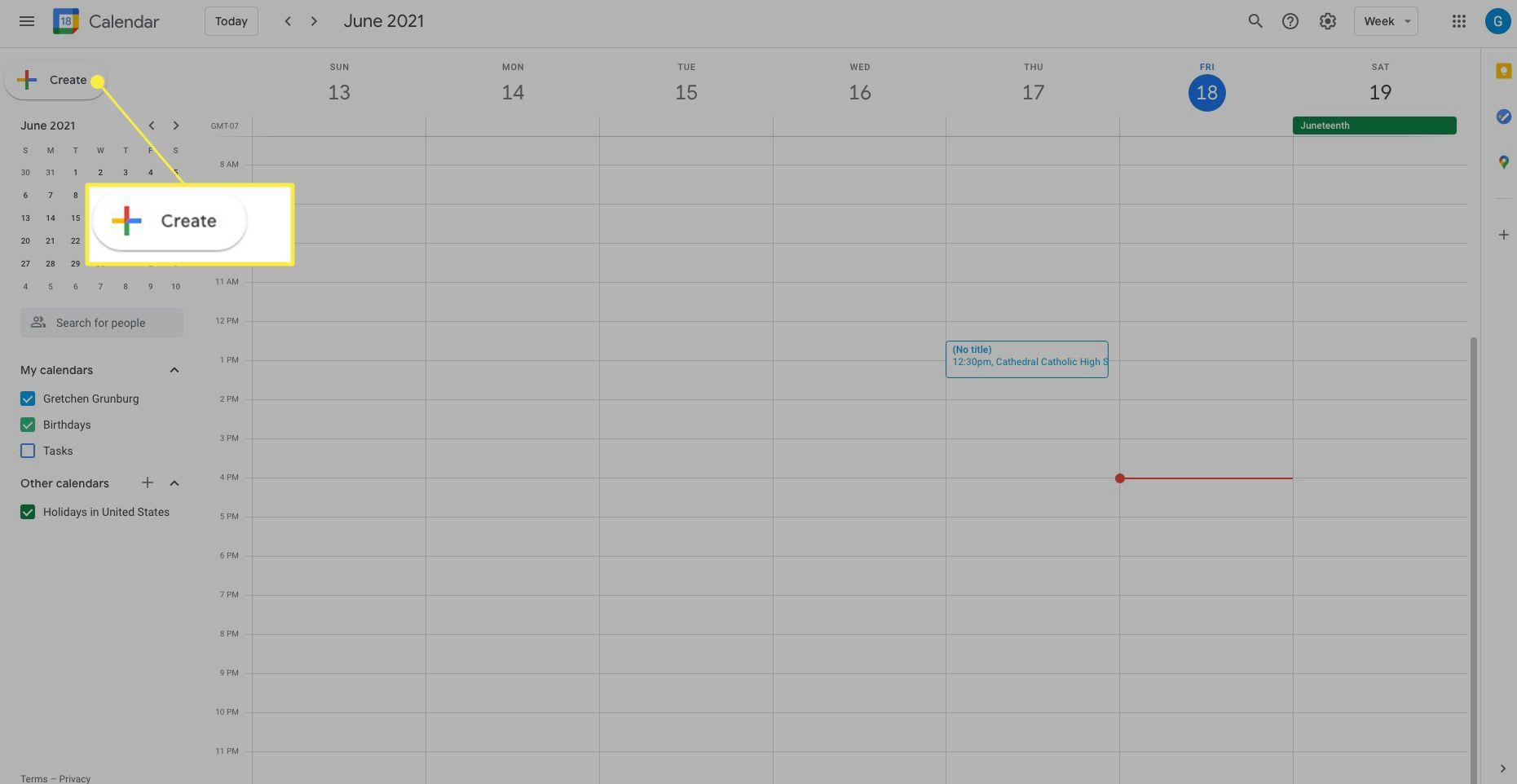 Google Calendar with Create highlighted