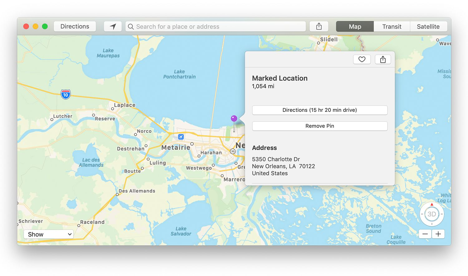 Marked Location information screen in Mac Maps app