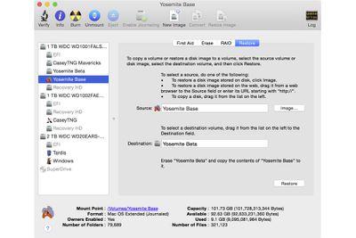 Disk Utilities Restore Tab