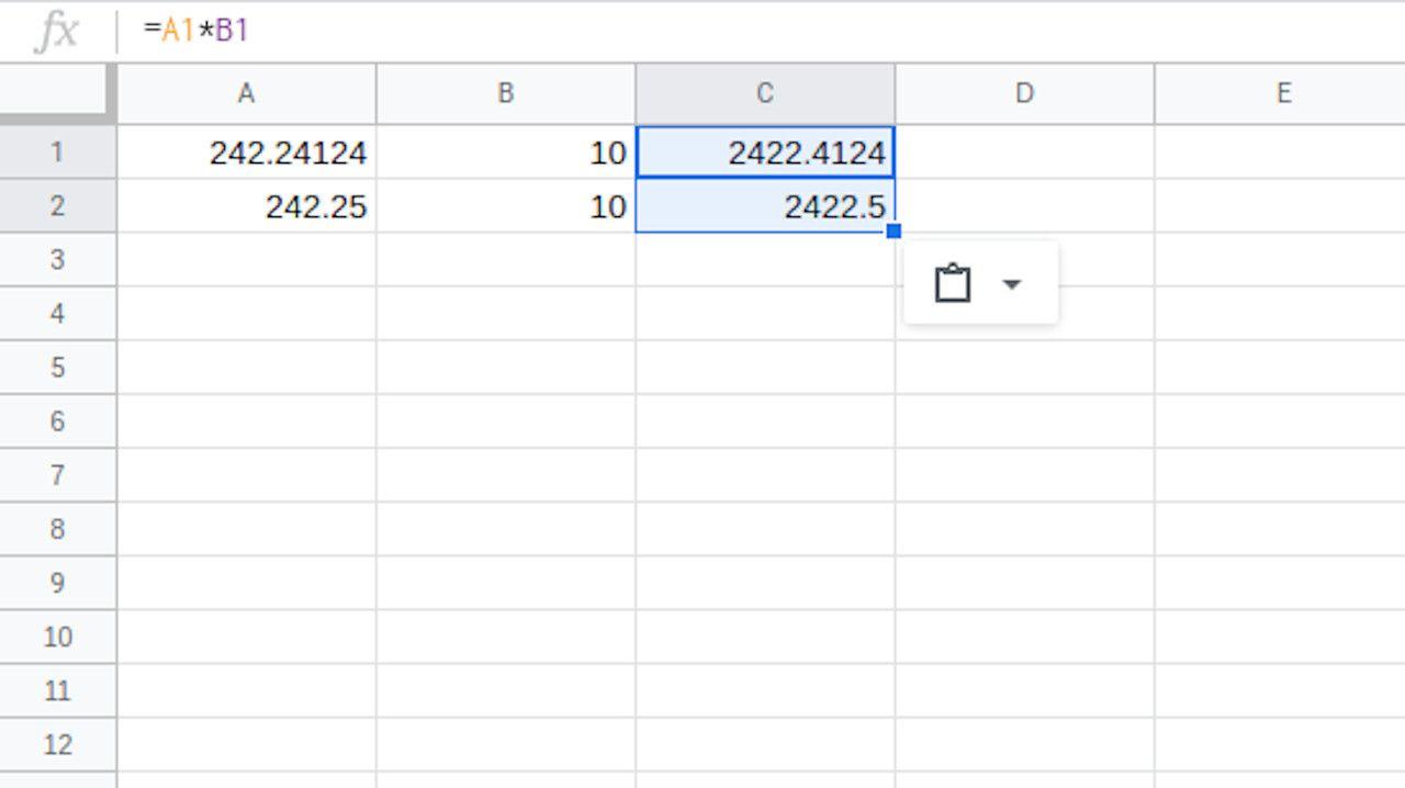 Google Sheets formula pasted