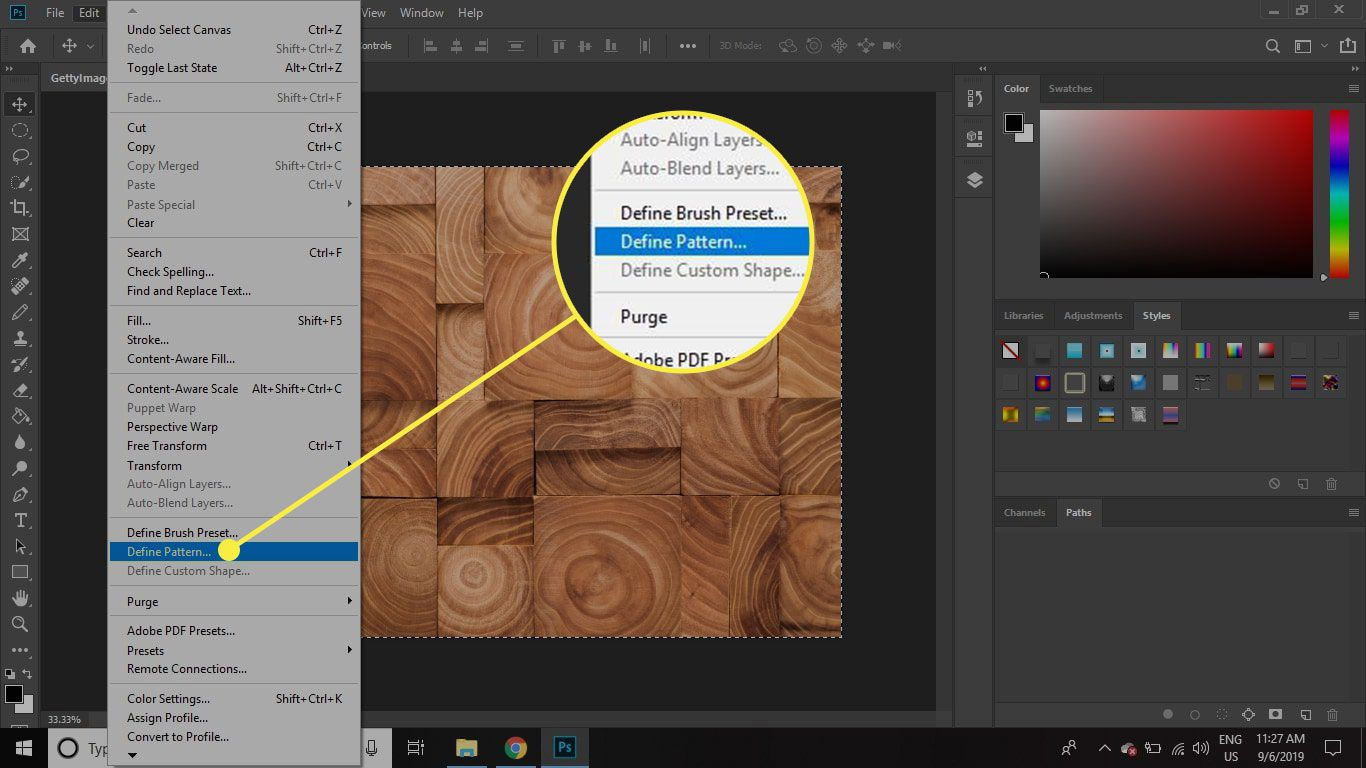 A screenshot of Photoshop with the Define Pattern command highlighted