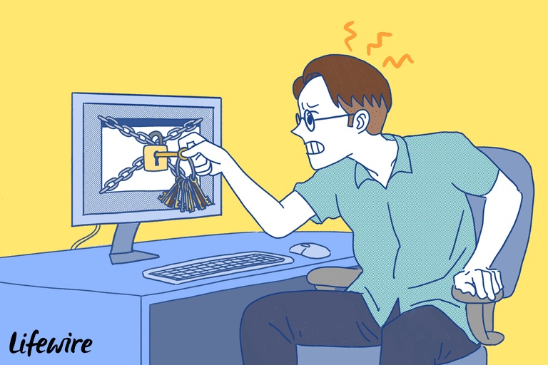 Illustration of a frustrated person trying to unlock a computer monitor with literal keys