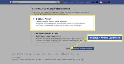 The Deactivate Account option in Facebook on a web browser.