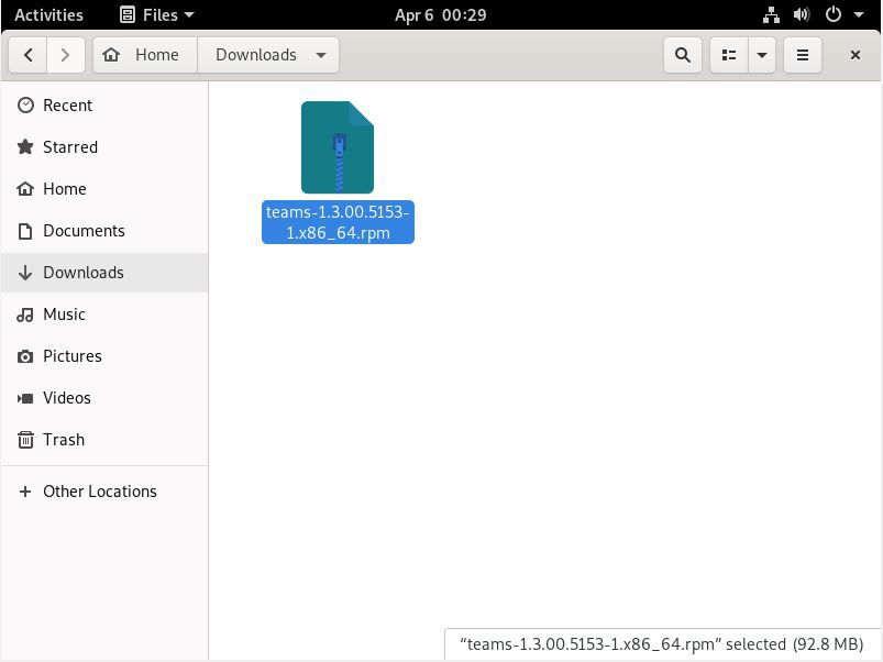 A Teams .RPM Package in the Fedora Files App