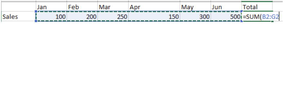 Screenshot of a simple Excel formula using the SUM function