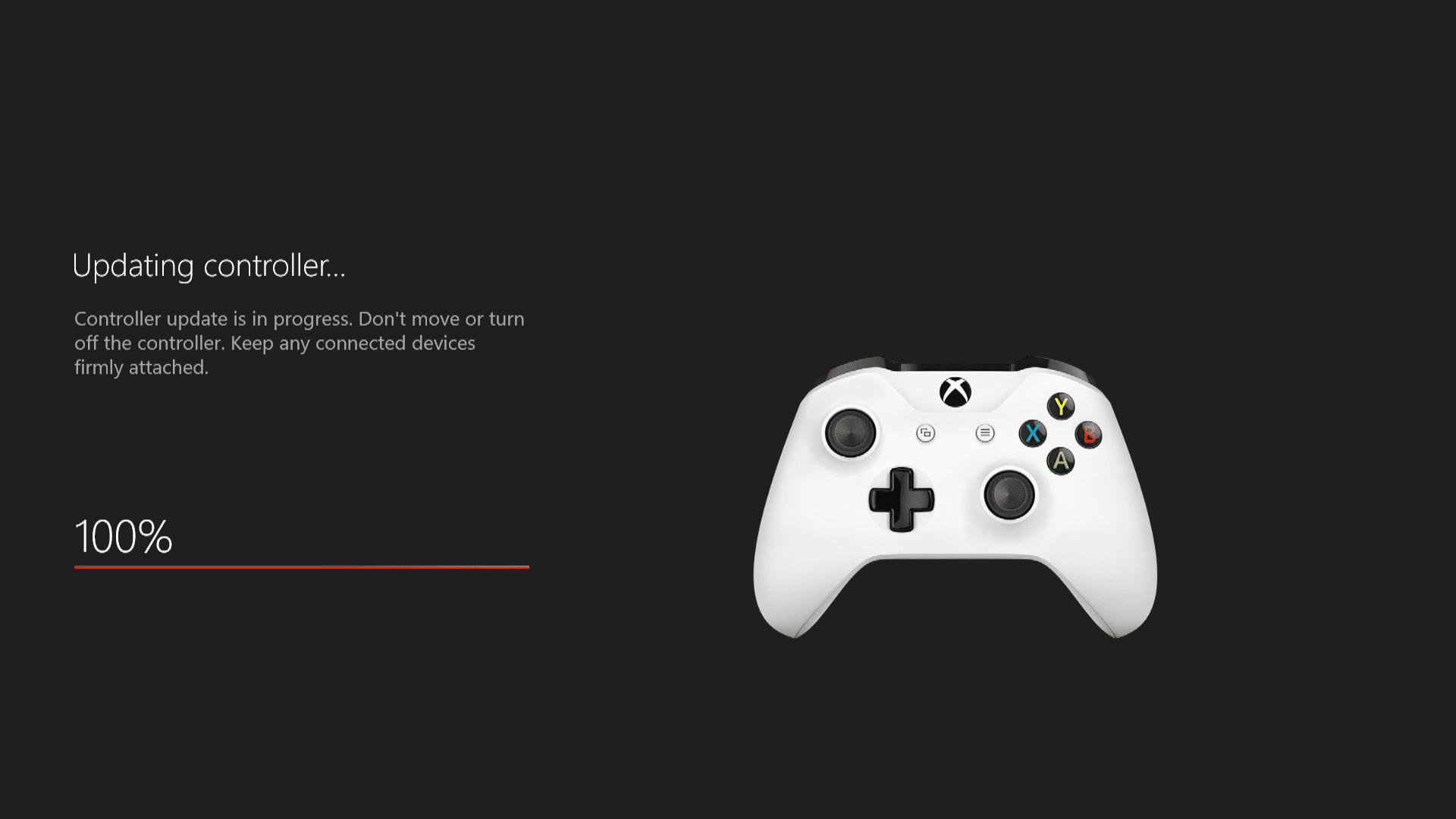 A screenshot of an Xbox One controller updating.