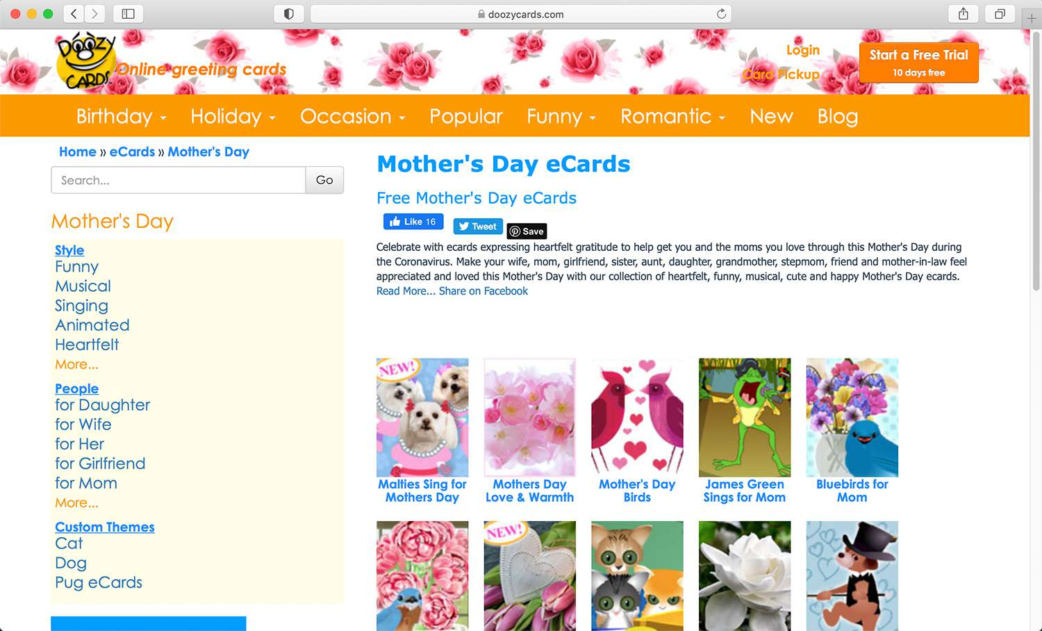 Doozy Cards e-card website for Mother's Day and other holidays