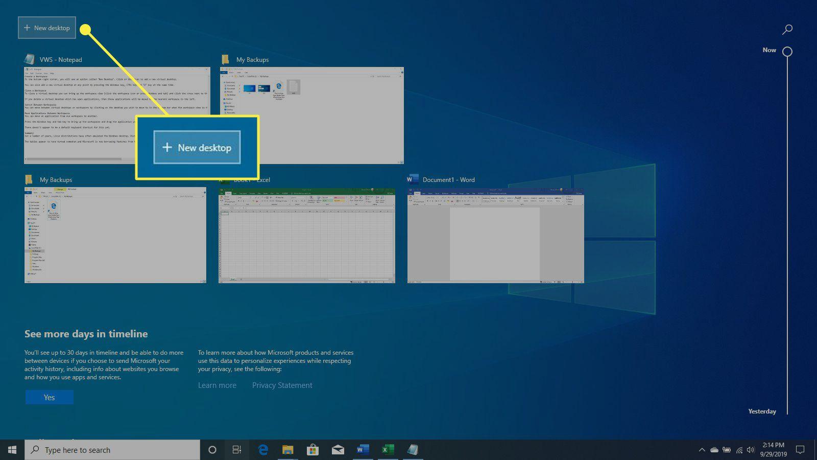 The New Desktop button