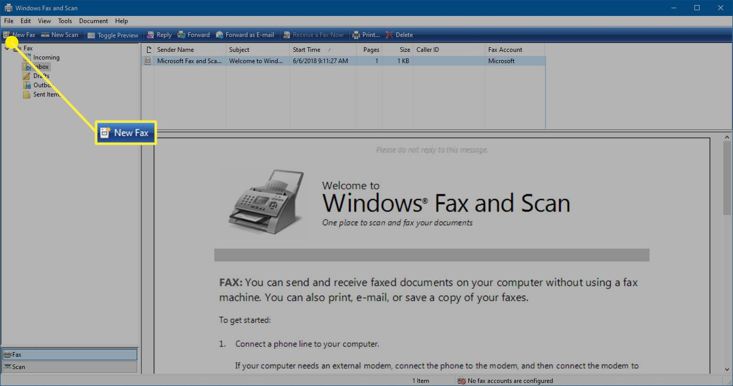 The New Fax option in Windows Fax and Scan.