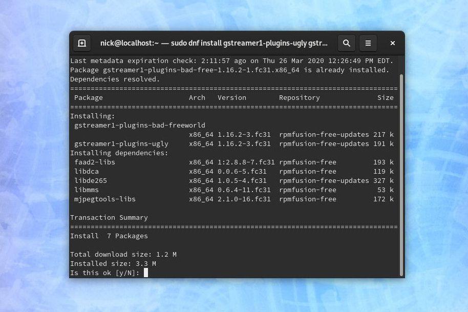 Fedora install audio codecs