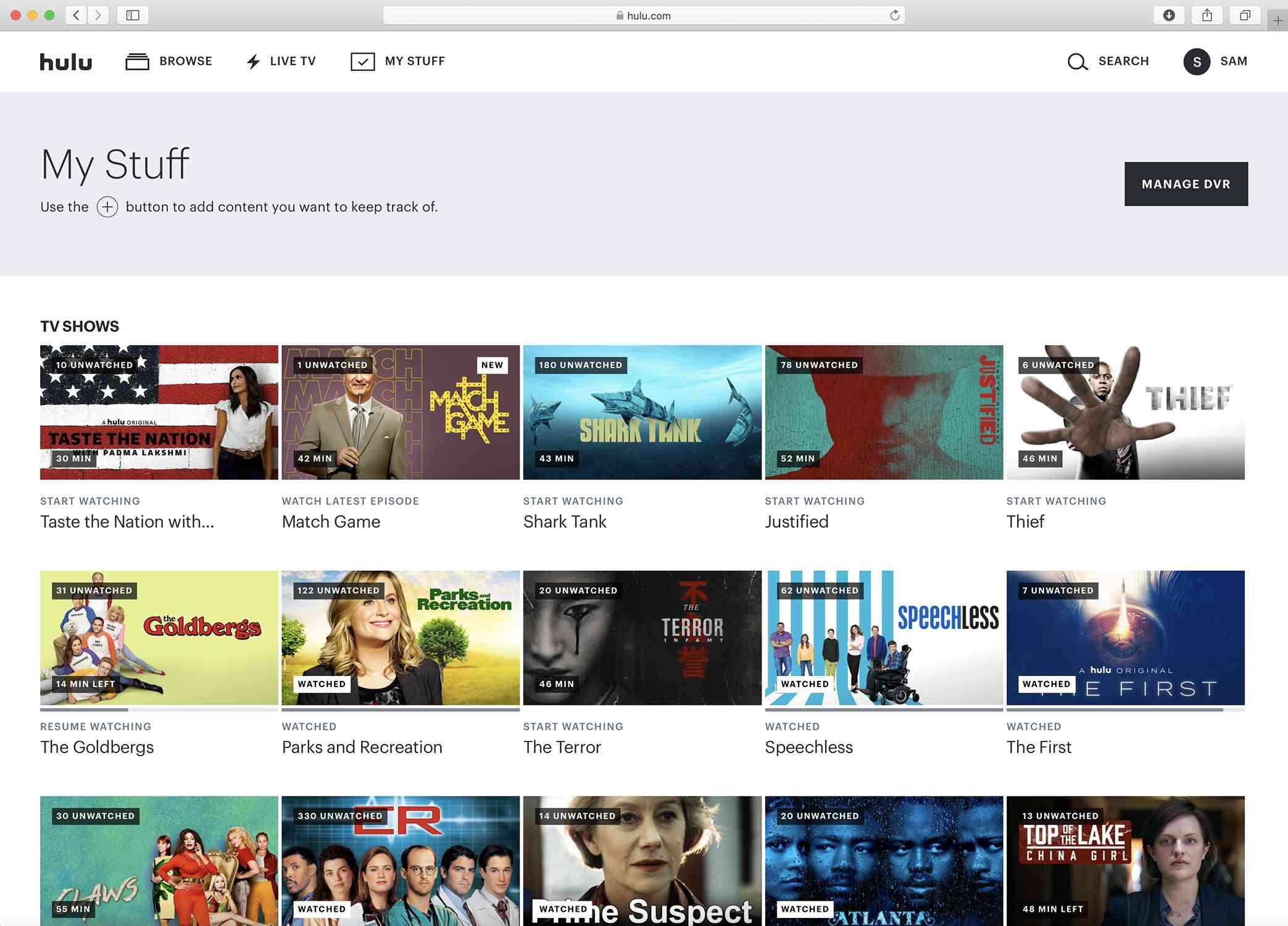 Screenshot of the Hulu My Stuff page