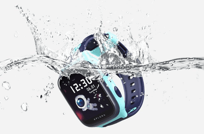 The Xplora 4 smartwatch being submerged in water