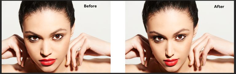 Before and After results of the Face Aware Liquify tool.