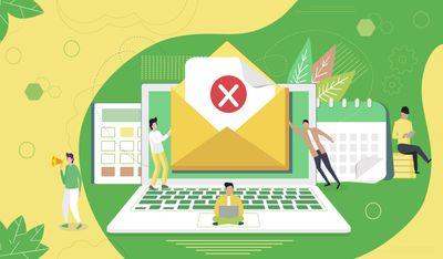 Concept envelope with rejected letter depicting deleting emails