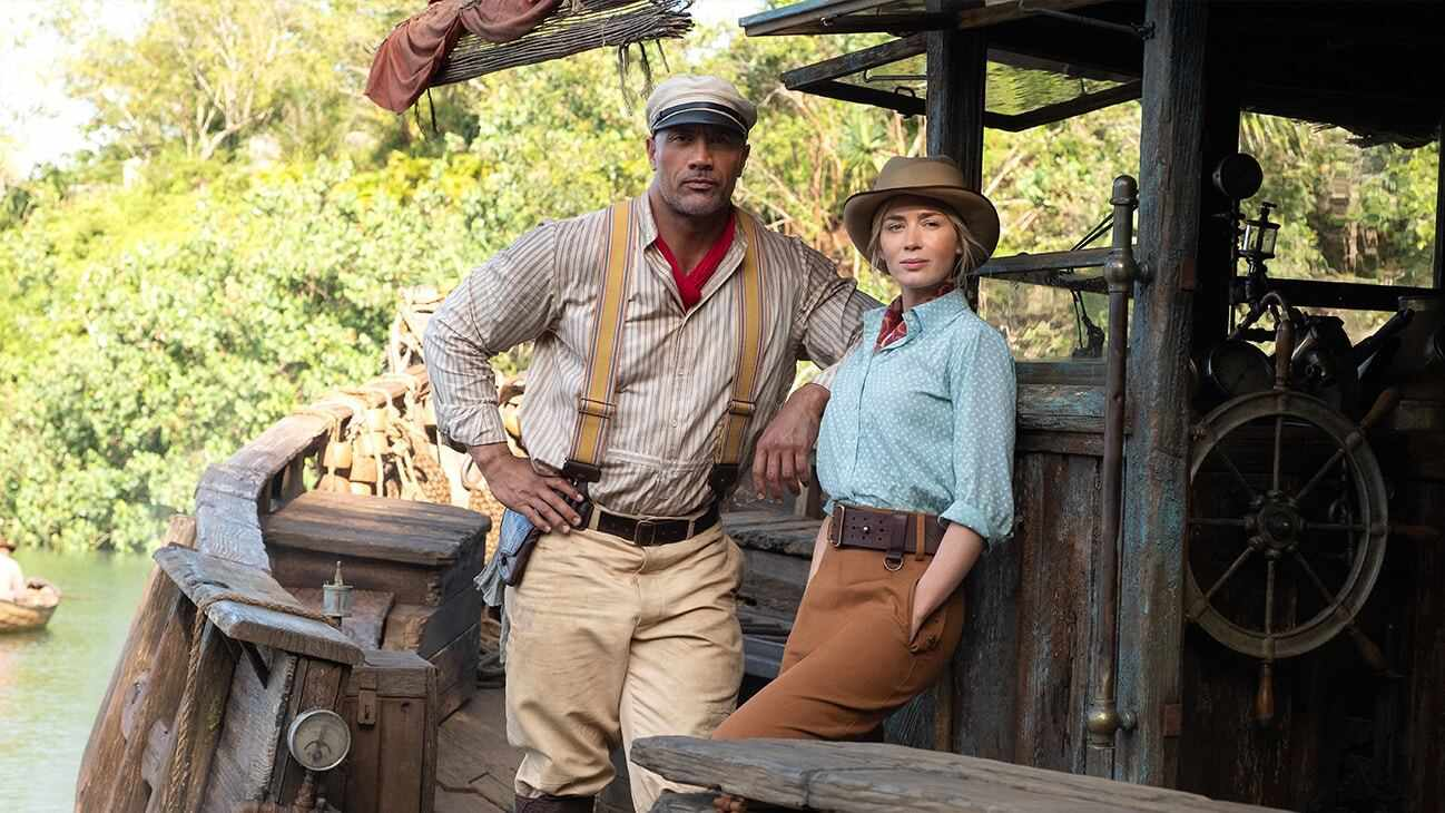 Duane Johnson and Emily Blunt in Jungle Cruise