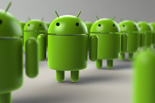 Android mascots lined up in a row