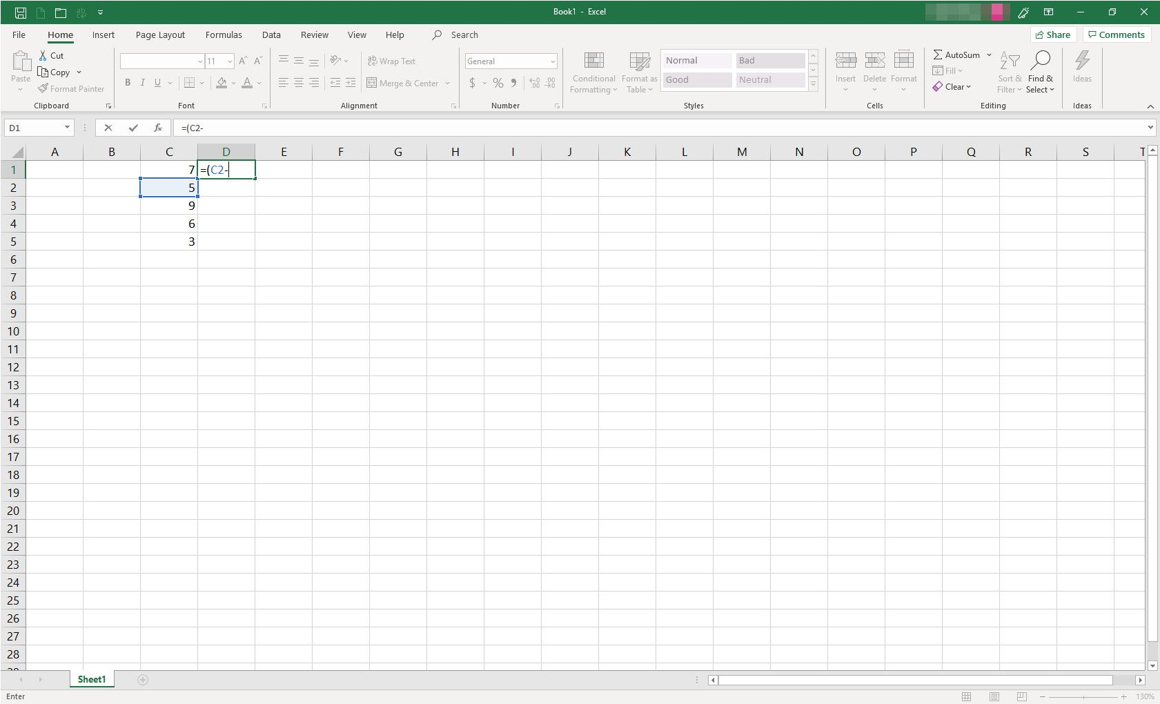 MS Excel spreadsheet with formula in progress
