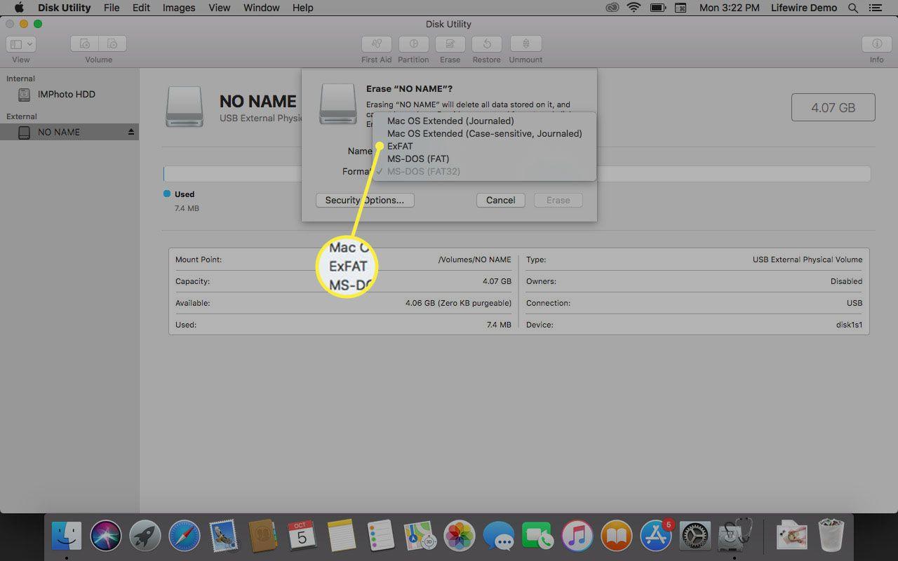 Selecting ExFAT format.