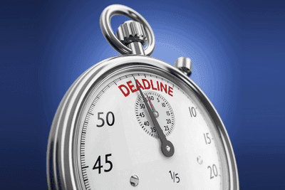 Picture of a clock that says deadline